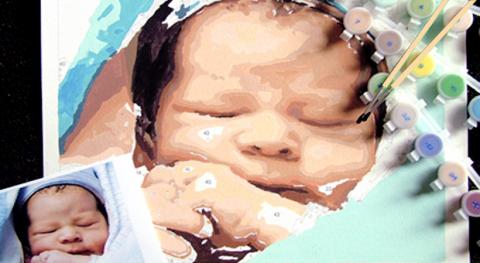 Custom Paint by Number Sleeping Baby