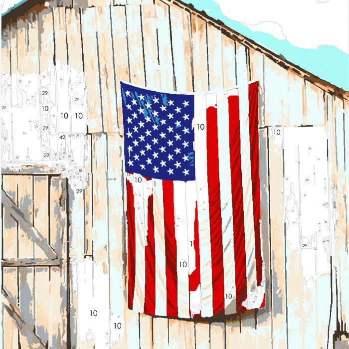 Part Painting American Flag & Barn